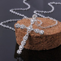 1PC Unique 925 Sterling Silver Plated Cross Crystal Rhinestone Necklace Wedding Party Pendant = 1946149636