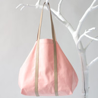 Cotton Shopper in Vibrant Apricot with Twin Top Handels in Sand, tote bag, shoulder bag, beach bag