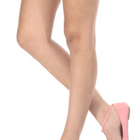 Light Pink Faux Suede T Strap Flats