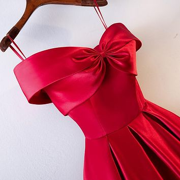 New red boat neck sexy lady girl women princess bridesmaid banquet party prom performance dance ball dress gown free shipping