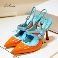 Pointed Toe Mary Janes Pumps 2016 Autumn Fashion Patent Leather Thin Heels Women Shoe Green Orange Cheap High Quality Brand