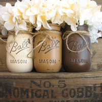 Set Of 3 Pint Mason Jars, Painted Mason Jars, Mason Jars, Rustic Home Decor, Country Home Decor, Dark Brown Light Brown & Creme Mason Jars