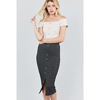 Womens Top Fashion Knee Length Skirt Outfit Front Button Down Detail Tow Tone Knit Midi Skirts