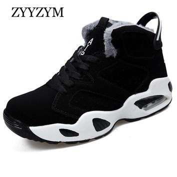 ZYYZYM Mens Boots Autumn Winter Lace-Up Unisex Style Fashion Casual Male Shoes Plush Keep Warm Sneakers Men Shoes