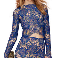 Long Sleeve Lace Pullover Bodycon Cropped Top