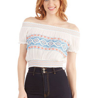 ModCloth Boho Short Length Short Sleeves Cropped Awe the Open Road Top
