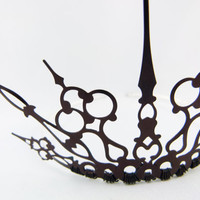 Gothique Simple Black Filigree Gothic Tiara by angelyques on Etsy