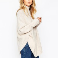 ASOS Poncho With Funnel Neck In Boucle Knit