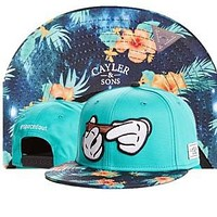 Cayler & Sons Spaced Out Mickey Mouse Hands Rolling A Blunt Floral Print Design Blue Hip Hop Baseball Cap Snapback Hat