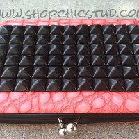 Studded Clutch Wallet Coral Pink With Black Studs