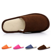Winter Plush Indoor Slippers Women Men Lovers Solid color Coral Velvet Cotton home house  Warm female Slippers Shoes 2015 New