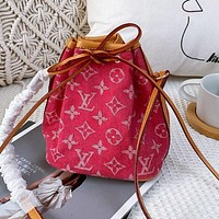 Hipgirls Louis Vuitton LV Women's Printed Letter Mini Denim Bucket Bag