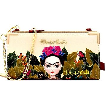 Authentic Frida Kahlo Brand Painted Wallet Cross Body Purse Women's Bag