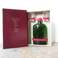 vintage travel bar / hollow book safe with flask and shot glasses