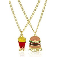 """Goldtone Burger and Fries """"Best Friends"""" 18 Inch Adjustable Necklaces"""