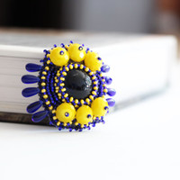 Glass blue yellow brooch women accessories embroidered jewelries beaded embroidery small round  seed beads brooch Royal blue Christmas gift