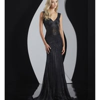 Jasz Couture 2014 Prom Dresses - Black Bead & Illusion Evening Gown