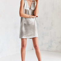 Silence + Noise Deep V Silky Shine Shift Dress | Urban Outfitters