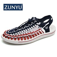 ZUNYU Summer Big Size 47 Men Sandals Fashion Handmade Weaving Design Breathable Casual Beach Shoes Outdoor Sandals For Men