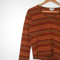 Vintage Early 90's' Aztec Striped Long Sleeve Knit Top