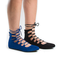 Blisse05 by Forever, Pointy Toe Corset Lace Up Leg Wrap Ballet Flats