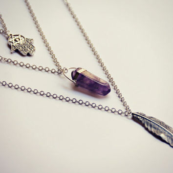 hamsa amethyst feather layer necklace, hamsa necklace, amethyst necklace, feather necklace, triple necklace