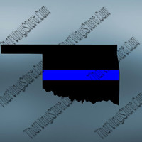 Oklahoma Back the Blue Flag Thin Blue Line Vinyl Decal   Yeti Cop Decal   Distressed American Flag   Blue Lives Matter   438