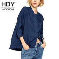 HDY Haoduoyi 2016 Autumn Women Fashion Three Quarter Sleeve Single Buttons Solid Navy Straight Shirt Loose Casual Shirt