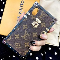 Louis Vuitton LV High Quality Fashion New Monogram Leather Women Men Protective Cover Phone Case Coffee