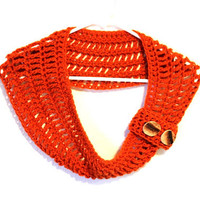 Orange Crochet Cowl Scarf Crochet with Reclaim wood buttons
