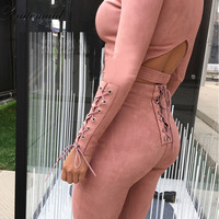 womens Romper Beige color long pants Bodycon Sexy fitted jumpsuits 2 pieces set tracksuit