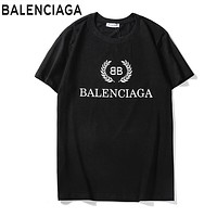 BALENCIAGA Fashion Women Men Casual Print Round Collar T-Shirt Top Black