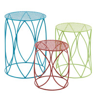 Benzara The Colorful Set Of 3 Metal Plant Stand