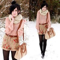 Thrifted Shorts, Thrifted Top, Pins & Needles Bag //    First Real Snow by Bonnie Barton // LOOKBOOK.nu