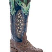 Lucchese®1883™ Women's Sienna Brown Full Quill Ostrich with Blue Top Square Toe Western Boot