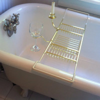 Clawfoot Tub Bath Rack Caddy with Wineglass by MySweetEllaClaire