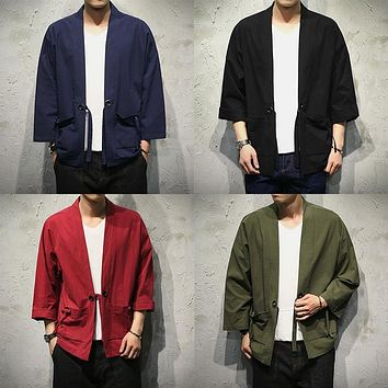 Trendy Sinicism Store Mens Jacket Coat Summer Kimono Cardigan Coat Japan Vintage Windbreaker With Belt Male Jackets Clothes 2018 AT_94_13