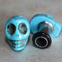 Blue sugar skull plugs tunnels gauges for gauged / stretched ears: 4g (5mm), 2g (6mm), 0g (8mm)