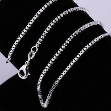 Silky Silver Box Link Chain Necklace 18, 20 or 22 inches