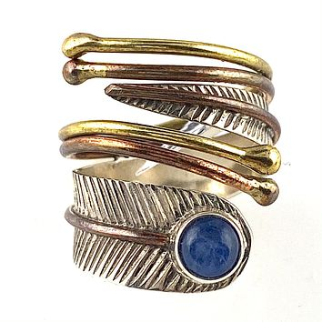 Kyanite Three Tone Sterling Silver Adjustable Leaf Wrap Ring