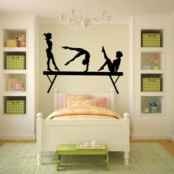 Gymnasts and Balance Beam Vinyl Wall Decal Sticker Graphic