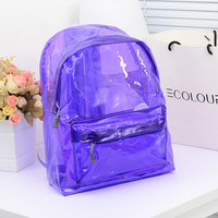 Transparent Clear Plastic Backpack 2016 Exquisite Candy Color Women Jelly Bag Transparent Bookbag Crystal Beach Bag Portable