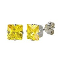 Citrine Square Cubic Zirconia Stud Earrings 925 Silver November Birthstone Prong