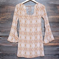 final sale - YIREH hawaii maize bell sleeve dress in sand dollar