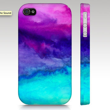 iPhone 4s case, iPhone 4 case, iPhone case, watercolor design, abstract painting, pink purple aqua turquoise, art for your phone