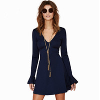 Navy Blue Bell Sleeve V-Neck Dress
