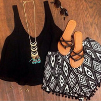 Solid color t-shirt printing tassel shorts two-piece