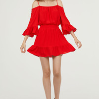 Open-shoulder Dress - Bright red - Ladies | H&M US