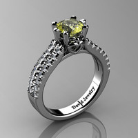 Classic 14K White Gold 1.0 Ct Yellow Topaz Diamond Solitaire Engagement Ring R1027-14KWGDYT