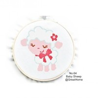 PDF instant download, Baby Sheep Cross Stitch Chart Pattern, No.064, Instructions